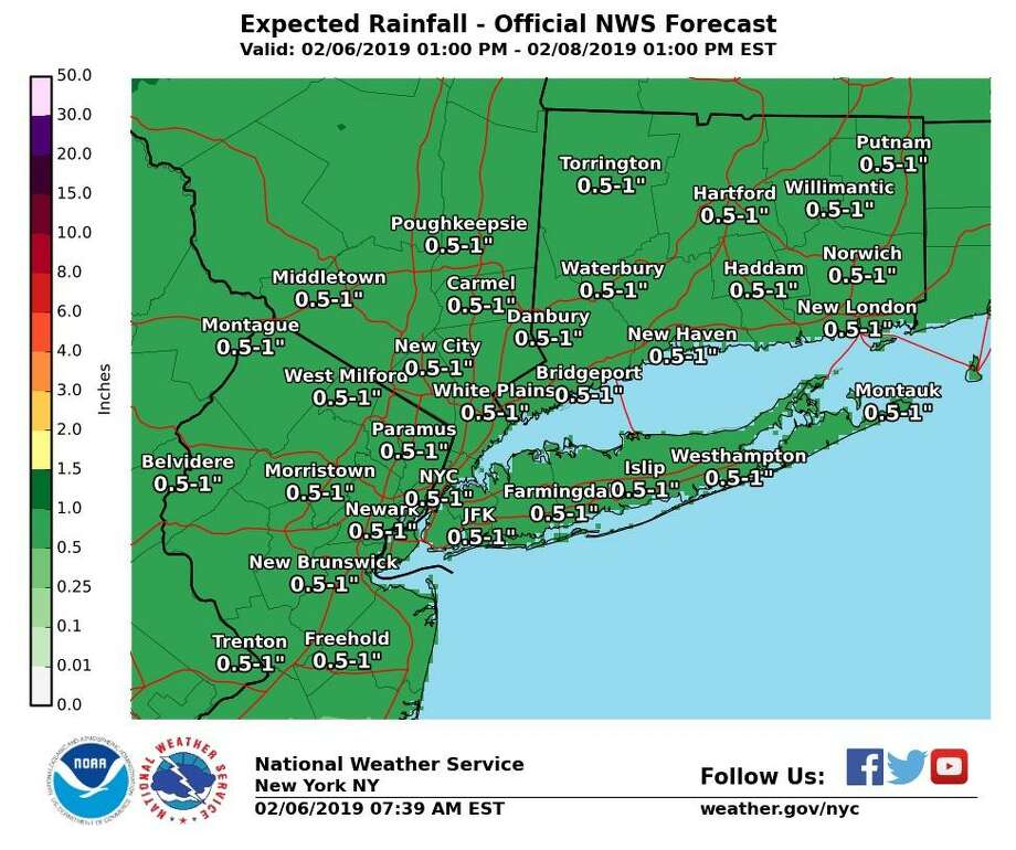 """A warm front will approach Wednesday, with a weak area of low pressure developing along it overnight tonight. This will bring rain to the region late this afternoon into tonight. The rain will continue overnight, with a bit of a lull on Thursday before another round of rain moves in. Between 0.50""""-1.00"""" of rain is forecast, which includes both rounds of rain. Photo: NWS"""