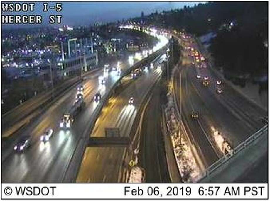 Overnight temperatures below freezing created icy road conditions for the Wednesday morning commute. Photo: Courtesy WSDOT