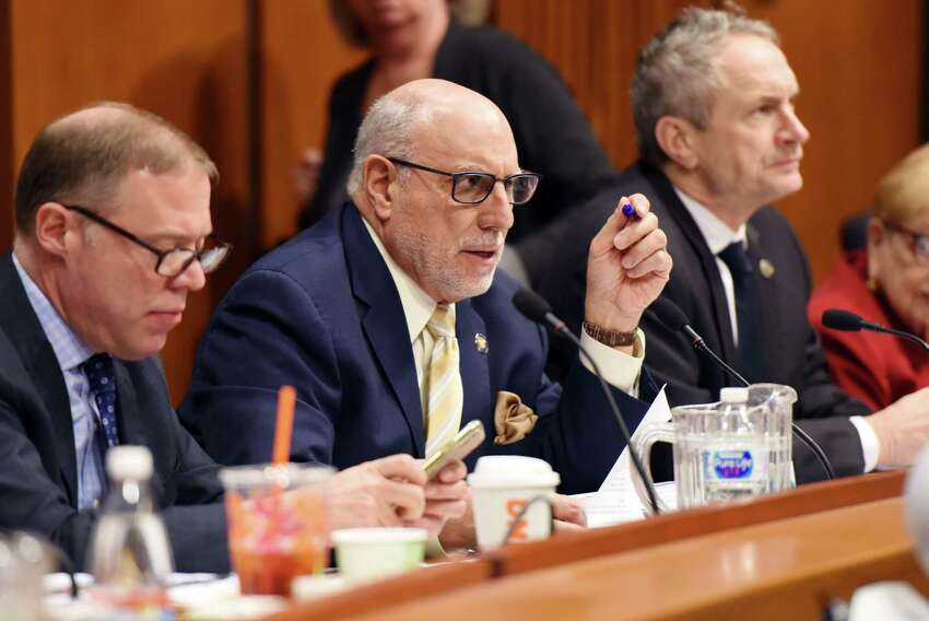Assembly member Michael Benedetto asks a question during the education budget hearing Wednesday, Feb. 6, 2019 at the Legislative Office Building in Albany, NY. (Phoebe Sheehan/Times Union)