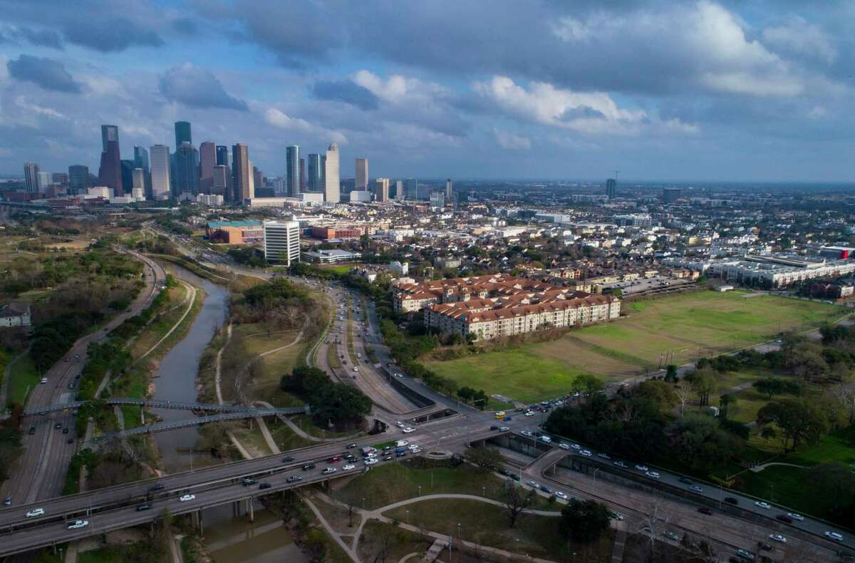 The vacant lot along Montrose Boulevard at Allen Parkway is planned as the future site of the Ismaili Center near downtown Houston along Buffalo Bayou, Tuesday, Feb. 5, 2019.