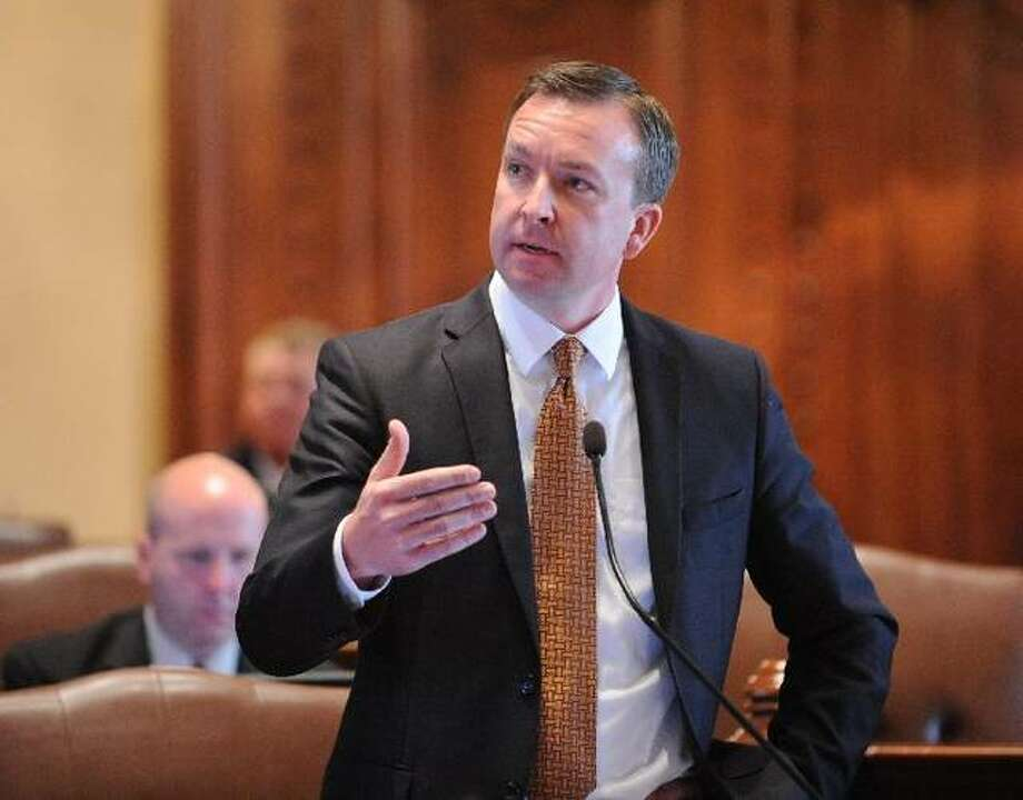 "State Sen. Andy Manar, shown in this file photo in Senate chambers in Springfield, is sponsoring a bill that would increase the minimum annual salary for teachers in Illinois public schools to $40,000 by the 2023-24 school year. ""The premise of this bill is to get at what I think is a core issue as to why we have large pockets of the state that are facing a critical shortage, almost a crisis, of having teachers available to fill vacant classrooms."" Photo: Capitol News Illinois File Photo"