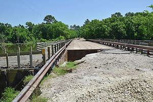 Stubblefield Bridge crosses the northern portion of Lake Conroe, within the Sam Houston National Forest.