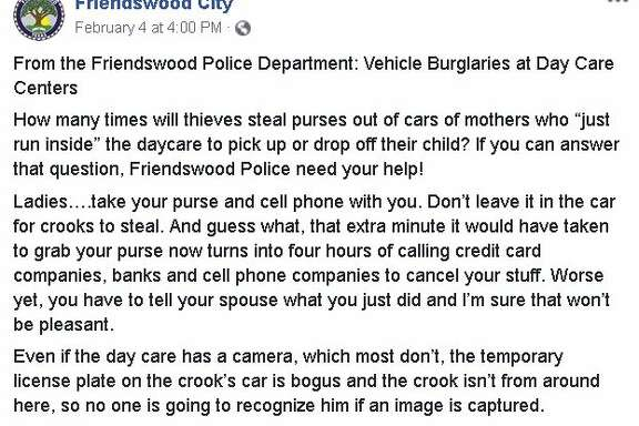 The Friendswood Police Department faced some criticism from residents after a post specifically addressing women called on them to stop leaving purses in cars outside of local daycares.