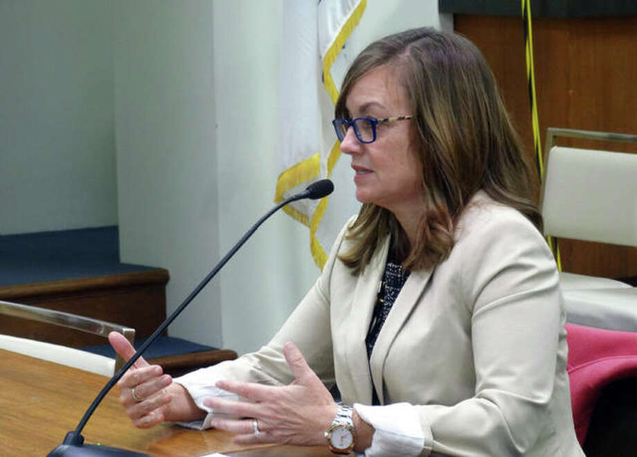 Rep. Katie Stuart (D-Edwardsville) testifies Wednesday before the House Human Services Committee in Springfield for a bill that would tighten reporting requirements on pharmacies dispensing controlled substances such as opioids. Photo: Peter Hancock | Capitol News Illinois