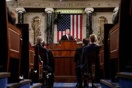 TOPSHOT - US President Donald Trump delivers the State of the Union address at the US Capitol in Washington, DC, on February 5, 2019. (Photo by Doug Mills / POOL / AFP)DOUG MILLS/AFP/Getty Images