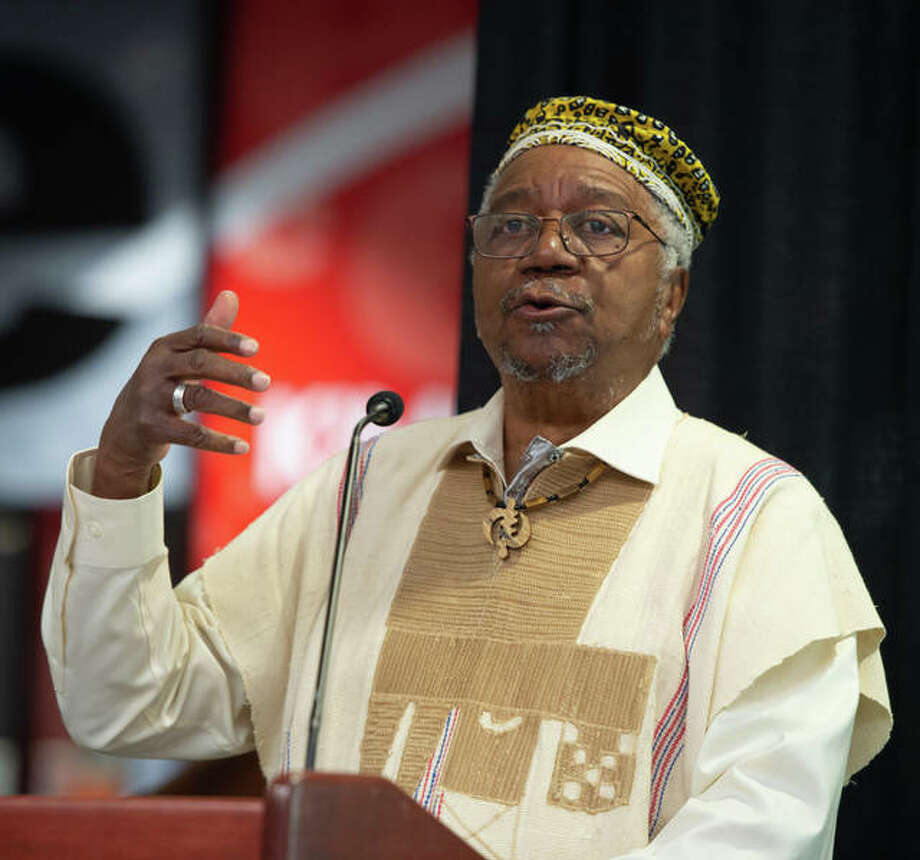 Eugene B. Redmond, PhD, SIUE emeritus professor of English, SIUE alumnus and East St. Louis Poet Laureate, was the keynote speaker at SIUE's Black Heritage Month Opening Ceremony. Photo: For The Intelligencer