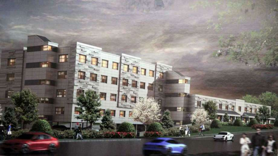 An early rendering of the apartment building for 1177 Post Road East in 2016. Photo: Contributed / Contributed Photo / Westport News