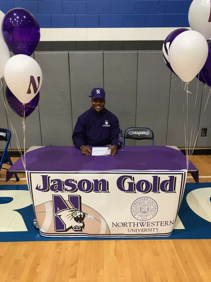 Clear Springs defensive lineman Jason Gold signed a national football letter of intent Wednesday with Northwestern University. Photo: Submitted Photo / Submitted Photo