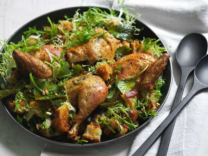 BERKELEY, CALIF - SEPT 5, 2017:  Zuni Cafe Roast Chicken and Bread Salad.