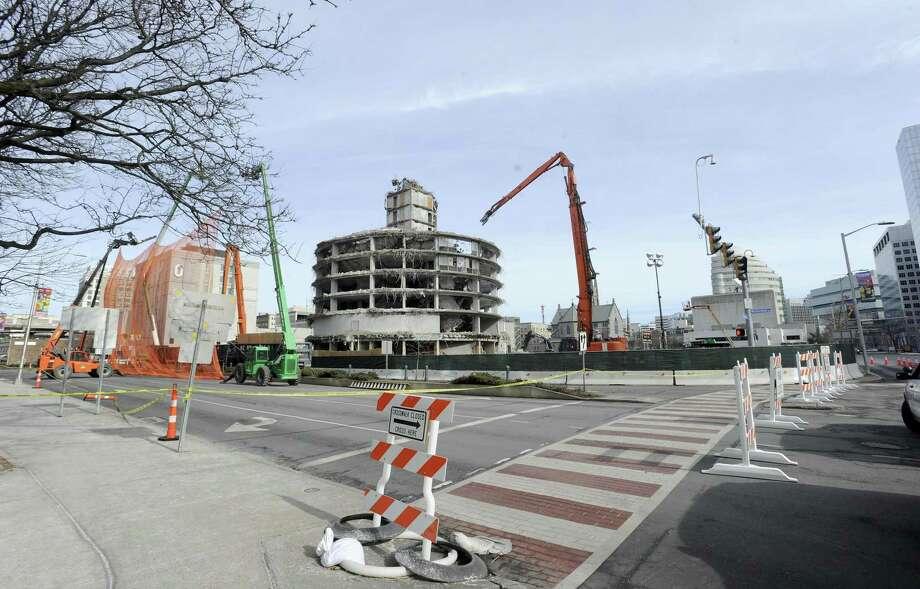 Demolition of St. John Tower in Stamford last month. Photo: Matthew Brown / Hearst Connecticut Media / Stamford Advocate
