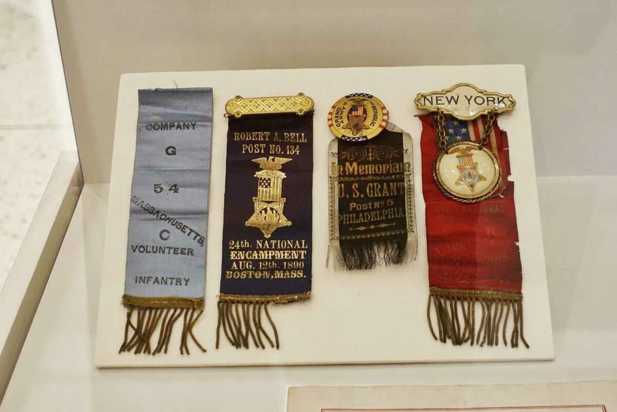 A view of some ribbons belonging to Bromley Hoke, c. 1870-1907, are seen on display as part of the black history exhibit focusing on the Jim Crow era, seen in the main lobby of the New York State Museum on Wednesday, Feb. 6, 2019, in Albany, N.Y. (Paul Buckowski/Times Union)