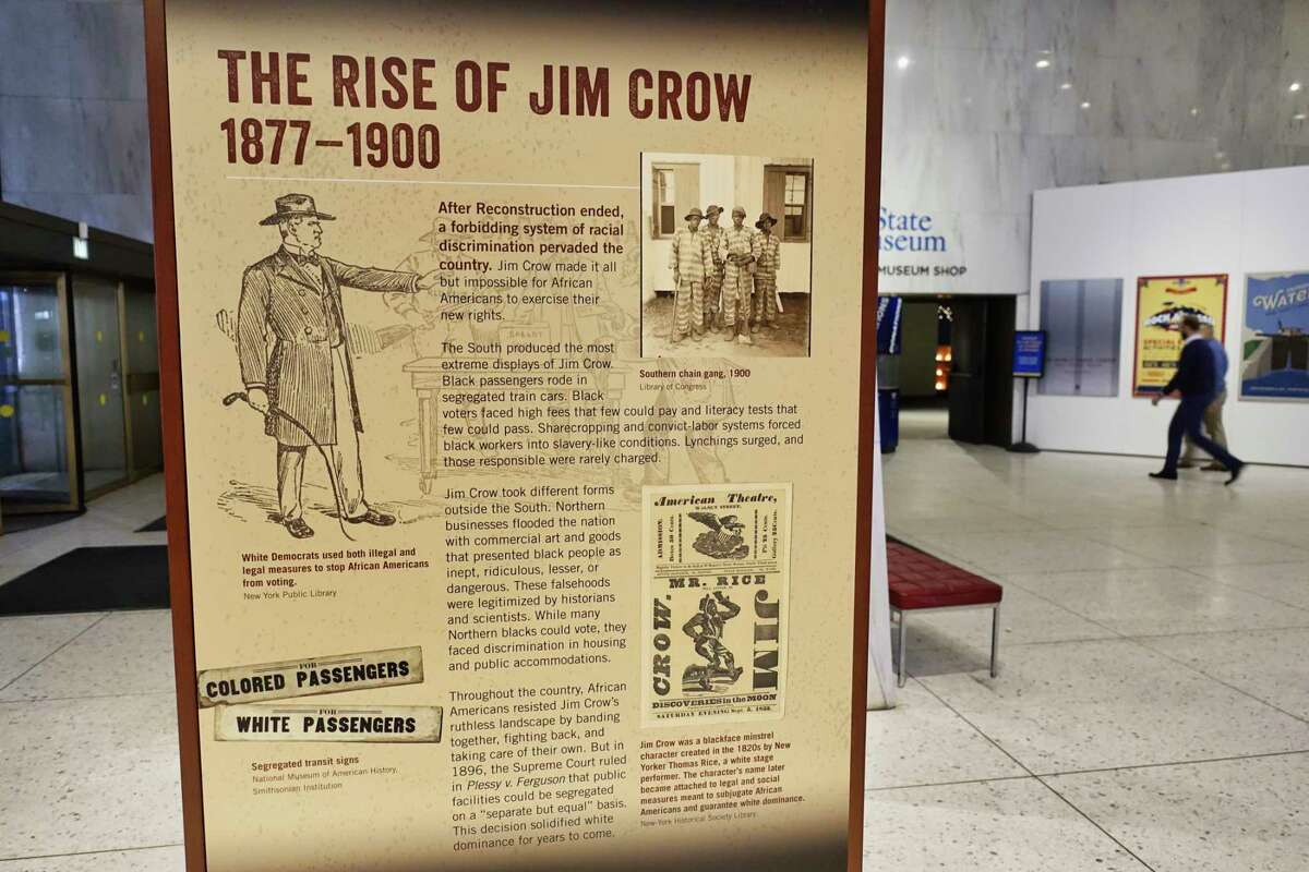 A view of the black history exhibit focusing on the Jim Crow era, seen in the main lobby of the New York State Museum on Wednesday, Feb. 6, 2019, in Albany, N.Y. (Paul Buckowski/Times Union)