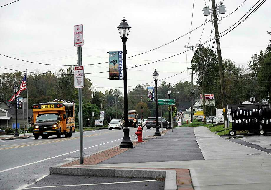 The Brookfield Streetscape project includes sidewalks and street lamps like the ones pictured here, just south of the four corners, Monday, Oct. 15, 2018. Photo: Carol Kaliff / Hearst Connecticut Media / The News-Times