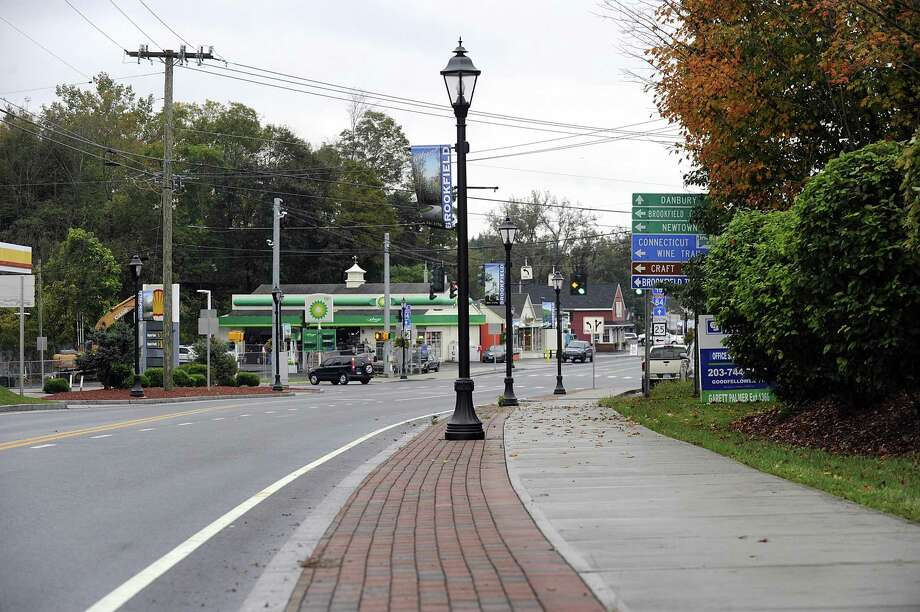 The Brookfield Streetscape project includes sidewalks and street lamps like the ones pictured here, north of the four corners, Monday, Oct. 15, 2018. Photo: Carol Kaliff / Hearst Connecticut Media / The News-Times