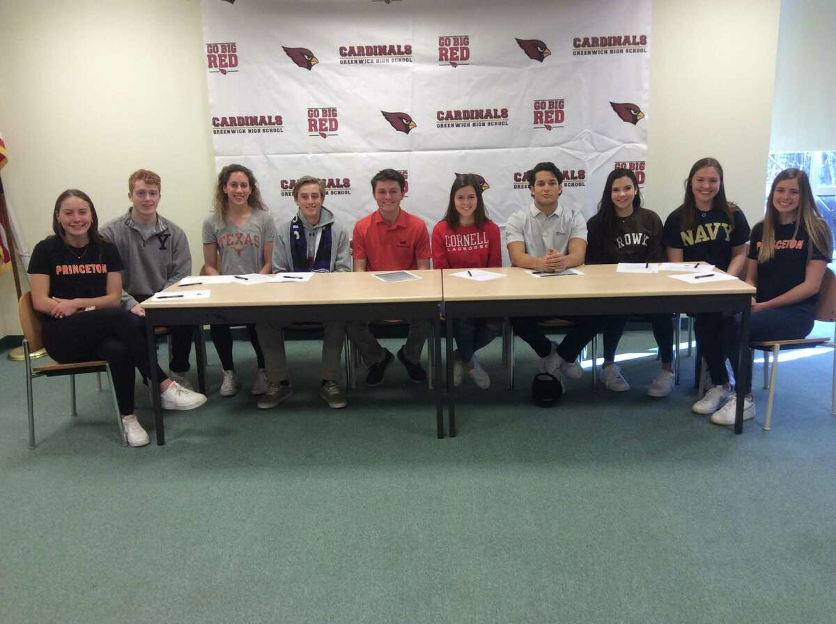 Greenwich High School held a ceremony recognizing senior athletes that will continue their athletic careers in college. From left to right (Lucy Koven, Princeton University crew), Michael Steinthal (Yale University crew), Bridget Semenuk (University of Texas swimming), Tobias Turnbull (Stonehill College football), Jackson Fretty (Princeton University golf), Sloane Loveless (Cornell University lacrosse), Tysen Comizio (Brown University football), Isabel Wilkowski (Brown University), Eleanor Dabney (United States Naval Academy crew) and Natasha Neitzell (Princeton crew).