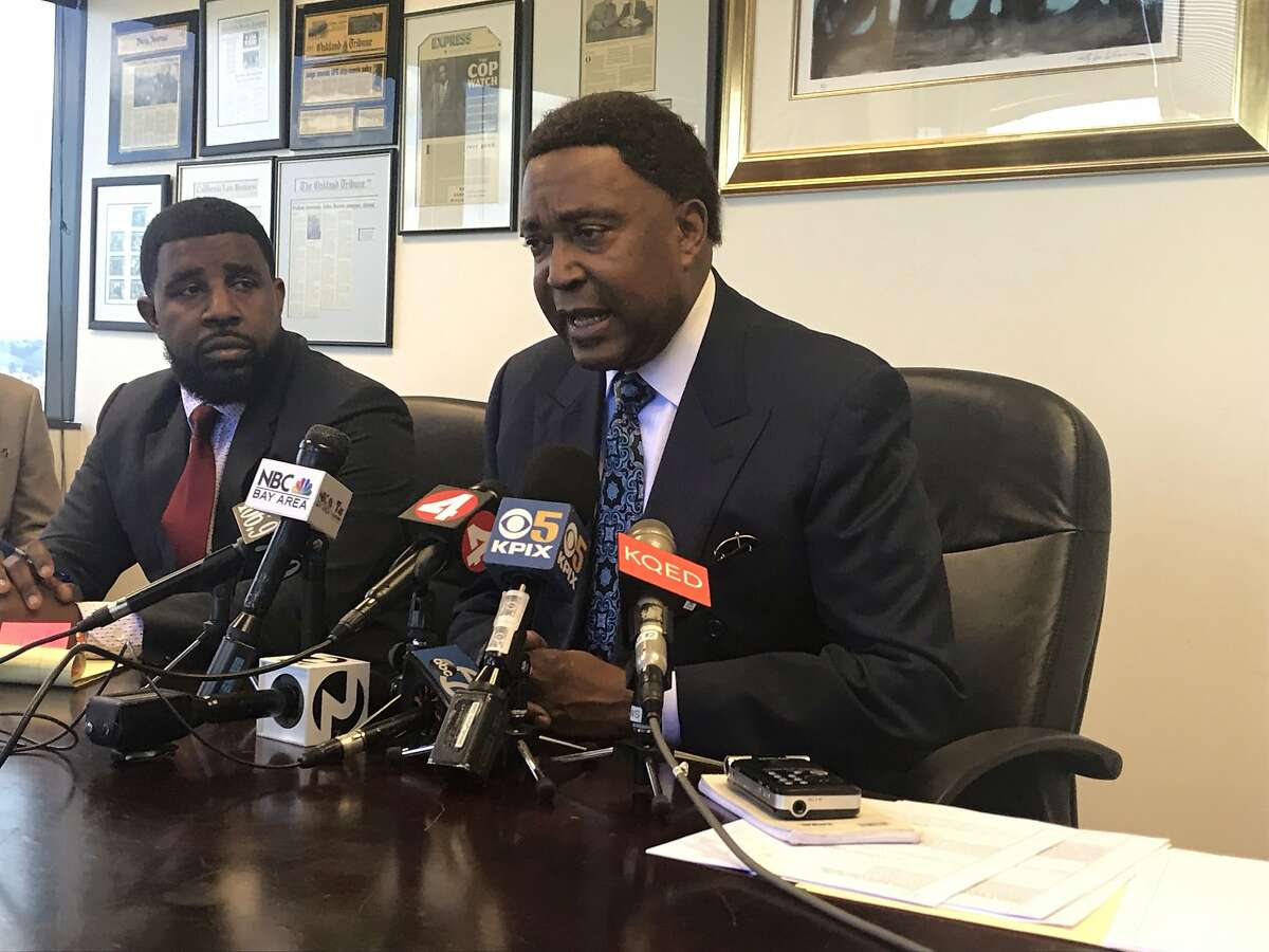 Civil rights attorney John Burris speaks about the wrongful death lawsuit against four Oakland police officers whom he said used excessive force when they fatally shot Joshua Pawlik in March 2018.