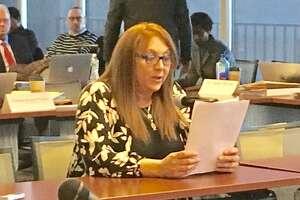 Ansonia parent Sharon Vorochak Papcin addresses the state Board of Education in Hartford. Feb. 6, 2019.