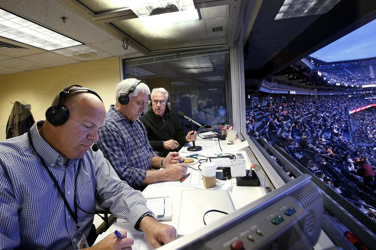 L-r, Oakland A's broadcasters Vince Cotroneo, Ray Fosse and Ken Korach call the game from the visitors' booth as the San Francisco Giants played the Oakland Athletics in a pre-season game at AT&T Park in San Francisco, Calif., on Thursday, March 27, 2014. Broadcasters throughout the game are bombarded by countless statistics which dissect a player's success to the finest detail. While some broadcasters use them, others prefer call their games with good old fashioned research done firsthand.