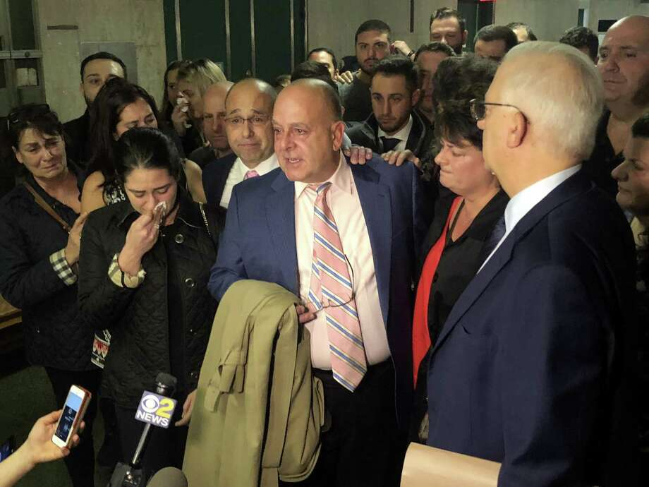 Pat Comunale, father of Westhill High grad Joseph Comunale who was killed in 2016, reacts outside the courtroom in Manhattan on Friday, November 2, 2018, after a jury convicted James Rackover of all counts in his son's murder. Photo: Ignacio Laguarda / Hearst Connecticut Media / Stamford Advocate