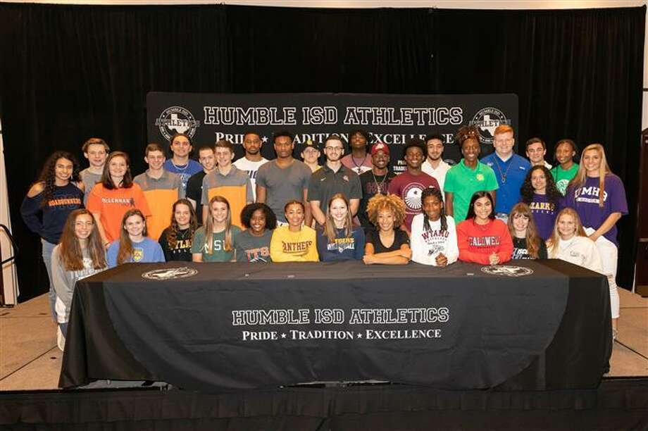 Humble Independent School District had 36 players sign letters of intent on National Signing Day on Wednesday at the Humble Civic Center. Photo: Contributed Photo/Humble ISD