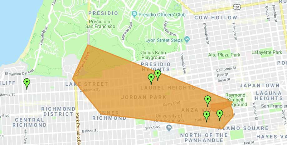 Thousands lost power after an apparent gas main fire on Geary Boulevard Wednesday in San Francisco. Click through the gallery for photos from the scene. Photo: PG&E Outage Map