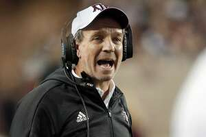 FILE - In this Nov. 17, 2018, file photo, Texas A&M coach Jimbo Fisher shouts during a timeout in the first half of an NCAA college football game against UAB in College Station, Texas. (AP Photo/Michael Wyke, File)