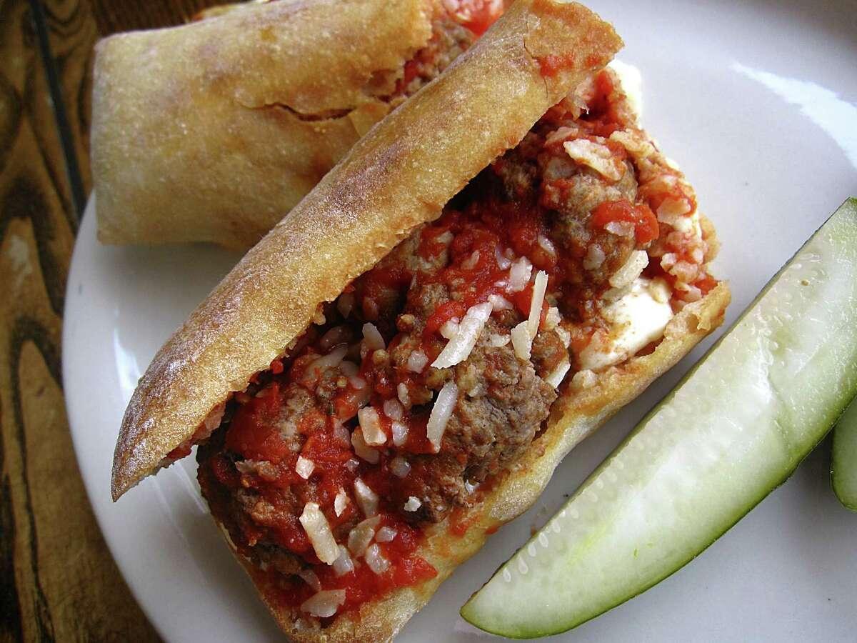Meatball sandwich with mozzarella, provolone and marinara from Carlucci's