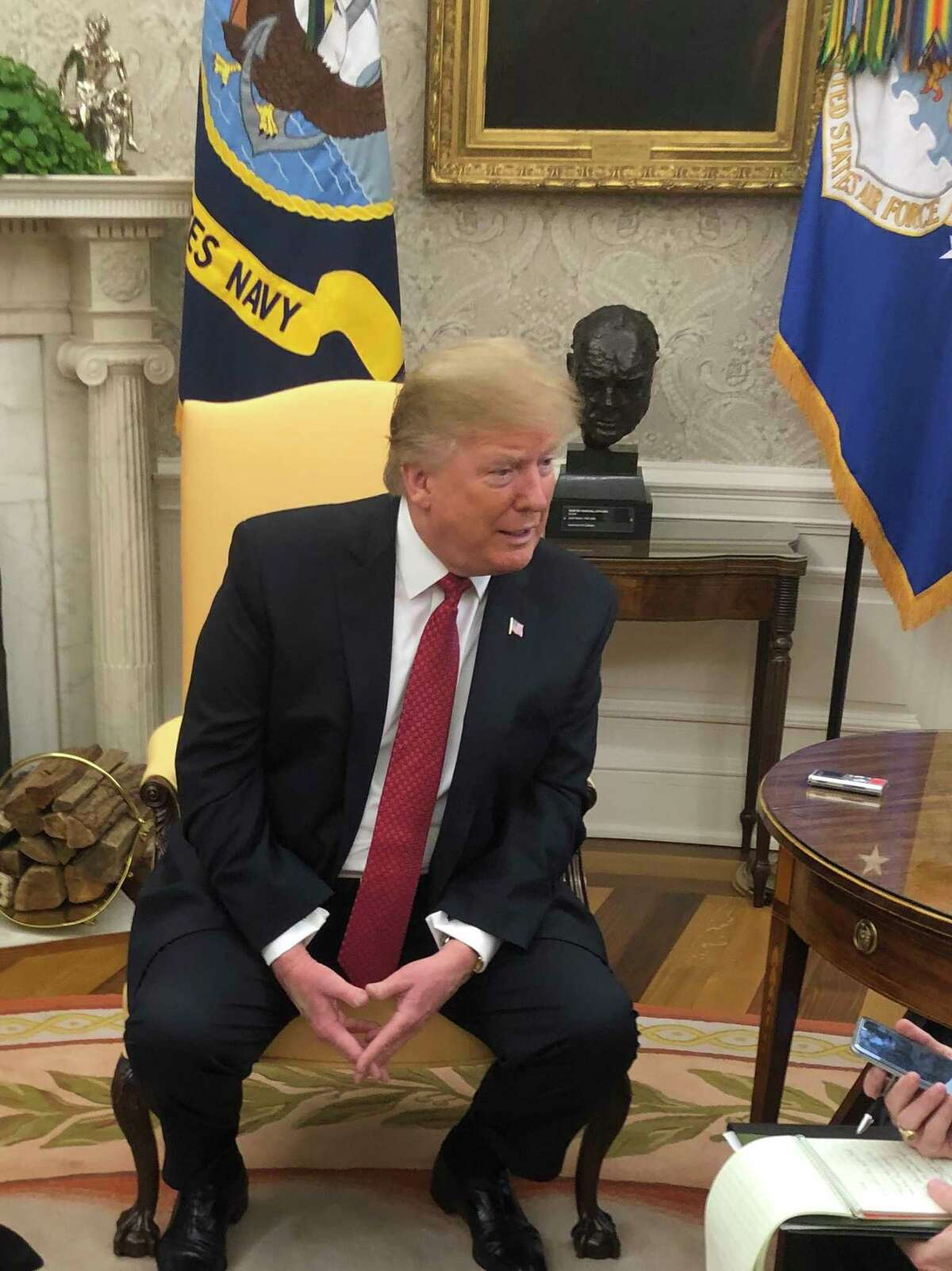 President Trump meets with reporters in the Oval Office to discuss state and local tax deductions and other New York-related issues. (Dan Freedman / Times Union/Hearst)