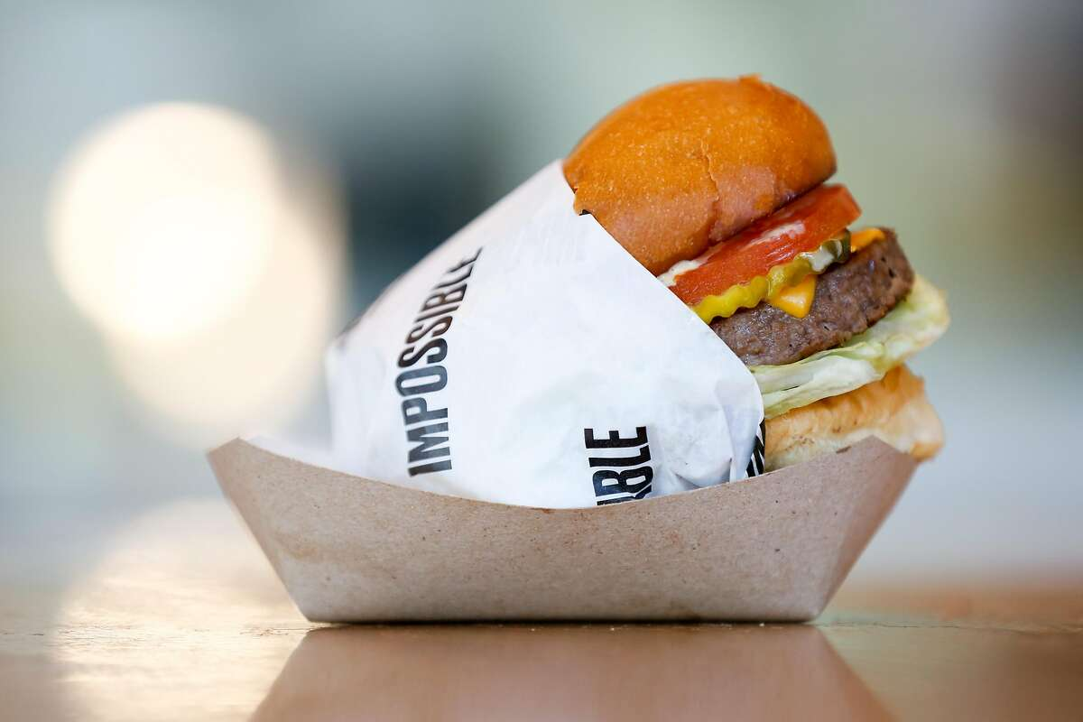 The Impossible burger at Gott's on Wednesday, February 6, 2019 in San Francisco, Calif.