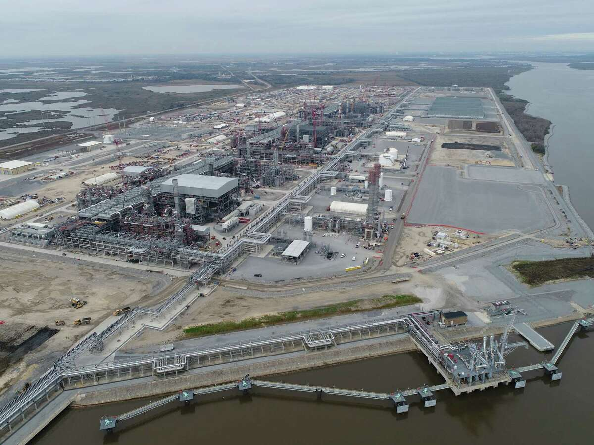 Aerial view of the construction at Sempra Energy's Cameron LNG export terminal near Hackberry, Louisiana. Located along the Calcasieu River Ship Channel, the facility will be able to produce up to 12 million metric tons of LNG per year. The startup process for the plant's first production unit started in January 2019 and is expected to take weeks or months before the first cargo can be shipped out.