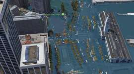Google Earth images show San Francisco in 2018, and how it could look by 2100. The 2100 images were modeled by Climate Central using NOAA data and represent a worst-case scenario for sea level rise in San Francisco.