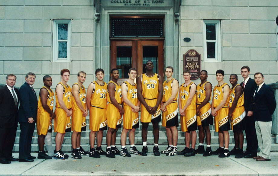"""James """"Jay"""" Olsen played on a College of Saint Rose basketball team in 1995-96 that is in the school's Hall of Fame. Olsen is No. 31, sixth from left. Photo: Provided, College Of Saint Rose"""