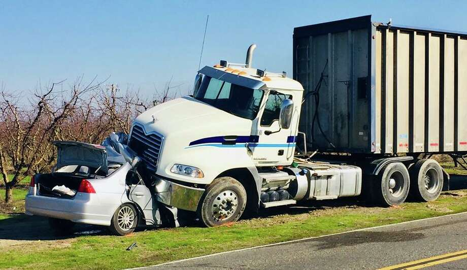 A Honda Civic collided with a truck while trying to pass a slower car, according to the California Highway Patrol. Photo: California Highway Patrol