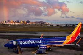 Southwest Airlines first Boeing 737-800 lands at Honolulu's Daniel K. Inouye International Airport on February 6 2019
