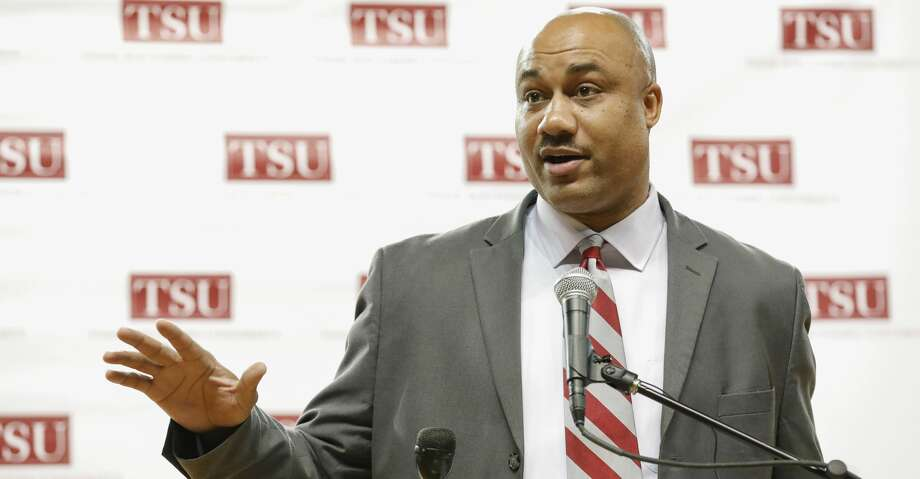TSU Interim VP of Athletics makes remarks during the press conference to announce Clarence McKinney as the new head football coach at Texas Southern University in Houston, TX on Monday, December 3, 2018. Photo: Tim Warner/Contributor