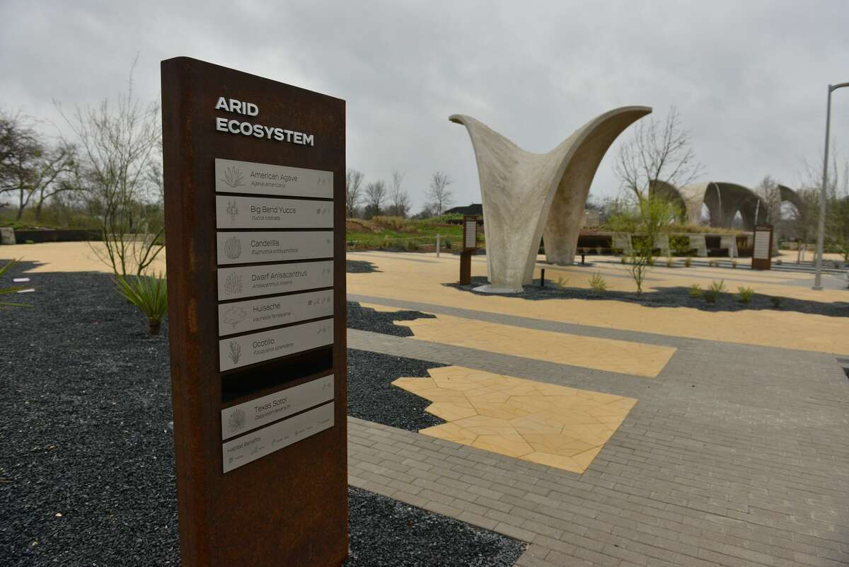 An explanatory sign system lets visitors to Confluence Park know what plants are native to the area. The 3.5-acre park, a project led by the San Antonio River Foundation, is south of downtown at 310 W. Mitchell St., where San Pedro Creek connects with the San Antonio River. The $13 million project was completed with public and private funds.