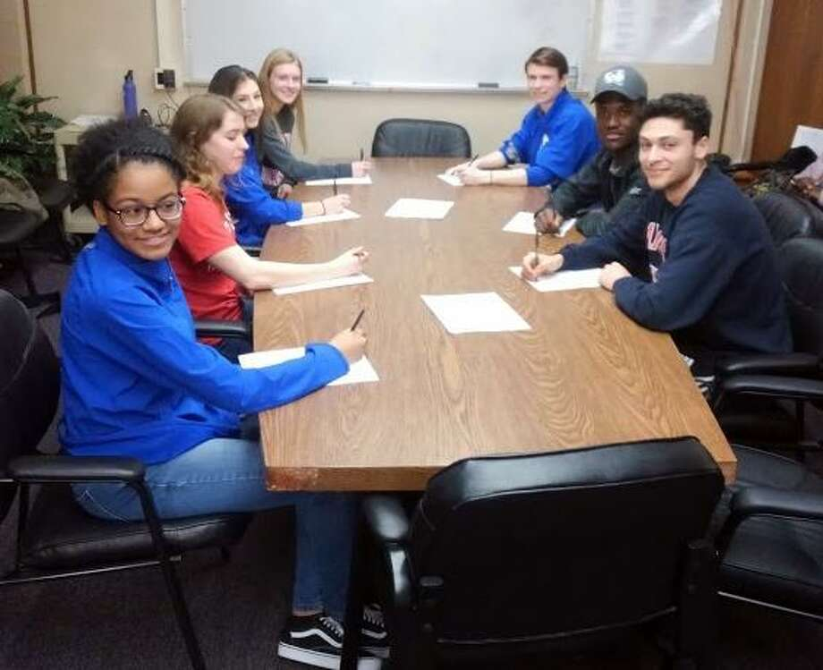 Danbury High honored seven athletes who are signed to collegiate programs on Wednesday. Photo: Contributed Photo