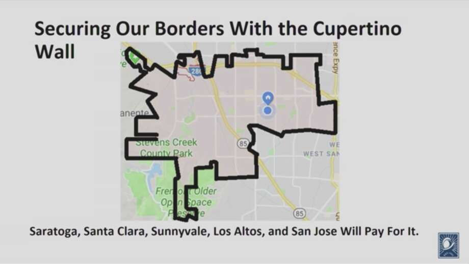 A screenshot of Cupertino Mayor Steven Scharf's State of the City address shows a fictional wall border around the city, a joke referencing President Donald Trump's proposed border wall. Photo: YouTube Screenshot