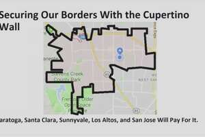 A screenshot of Cupertino Mayor Steven Scharf's State of the City address shows a fictional wall border around the city, a joke referencing President Donald Trump's proposed border wall.