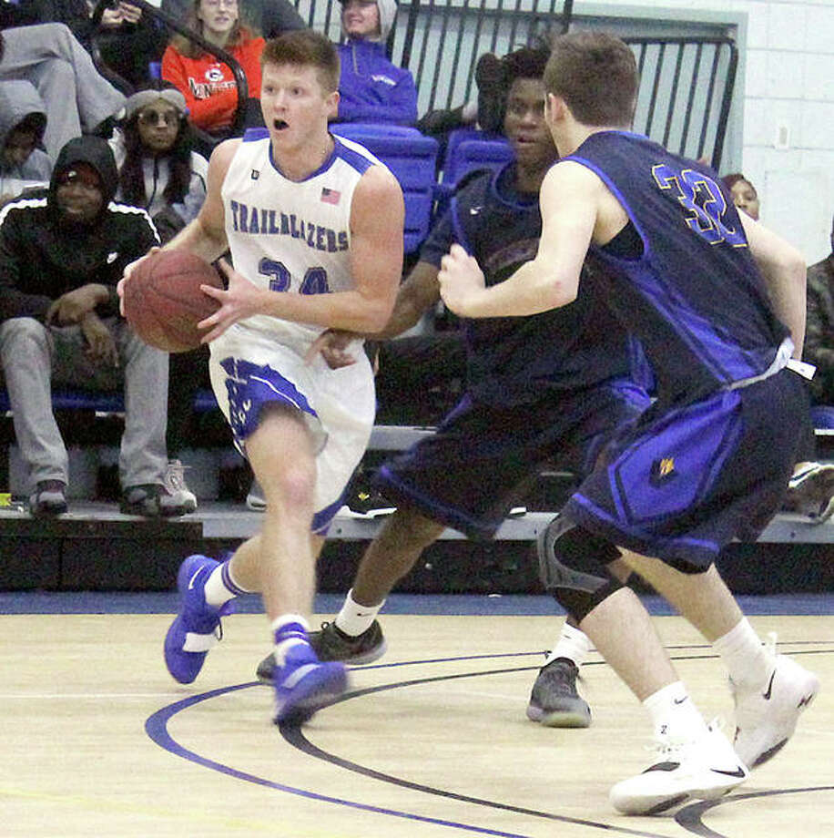 LCCC's Dawson Berry (34) scored 17 points to lead LCCC Wednesday in an 88-78 loss at Olney Central College. He is shown in action earlier this season against Vincennes University. Photo: Pete Hayes | The Telegraph
