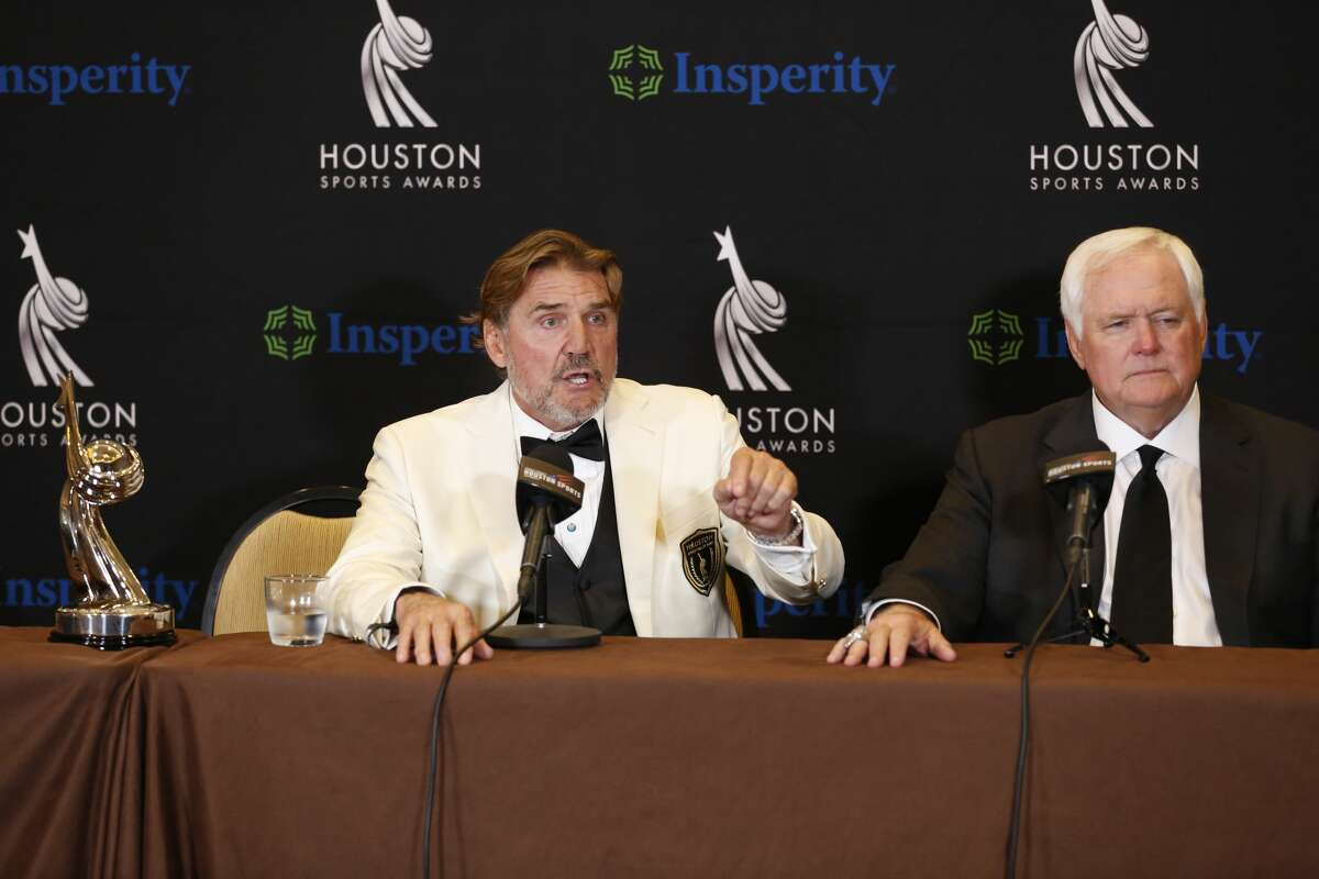 Dan Pastorini and Wade Phillips talked with the media after the Houston Hall of Fame inductment Wednesday, Feb. 6, 2019, in Houston.