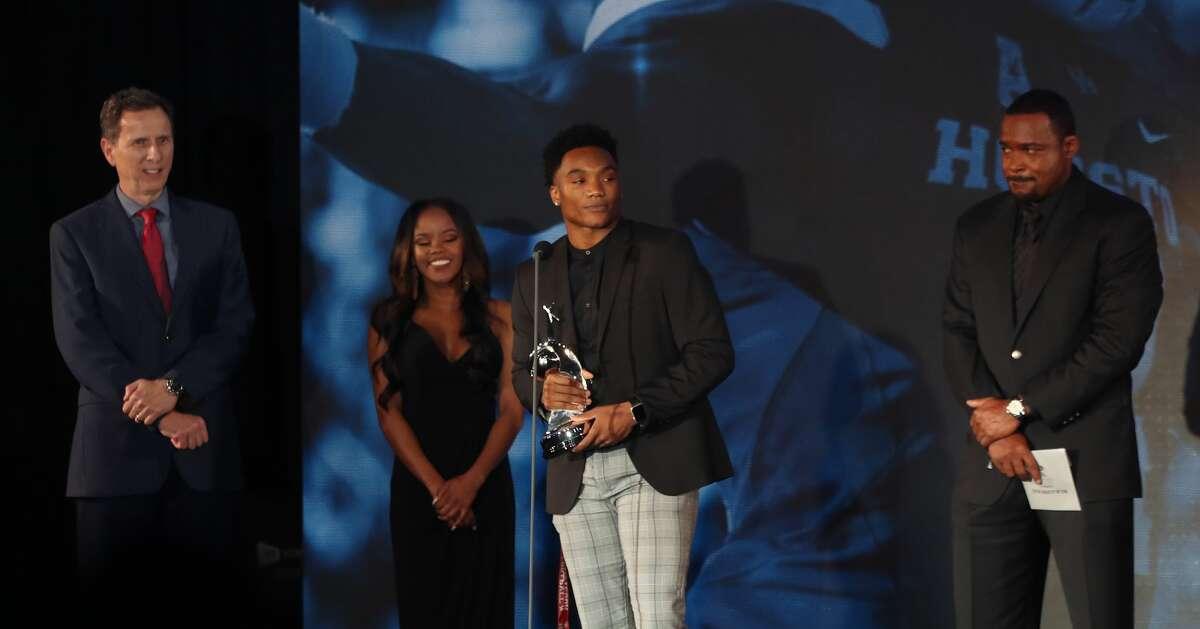 D'Eriq King, UH won the College Athlete of the Year Award during the Houston Sports Awards Wednesday, Feb. 6, 2019, in Houston.