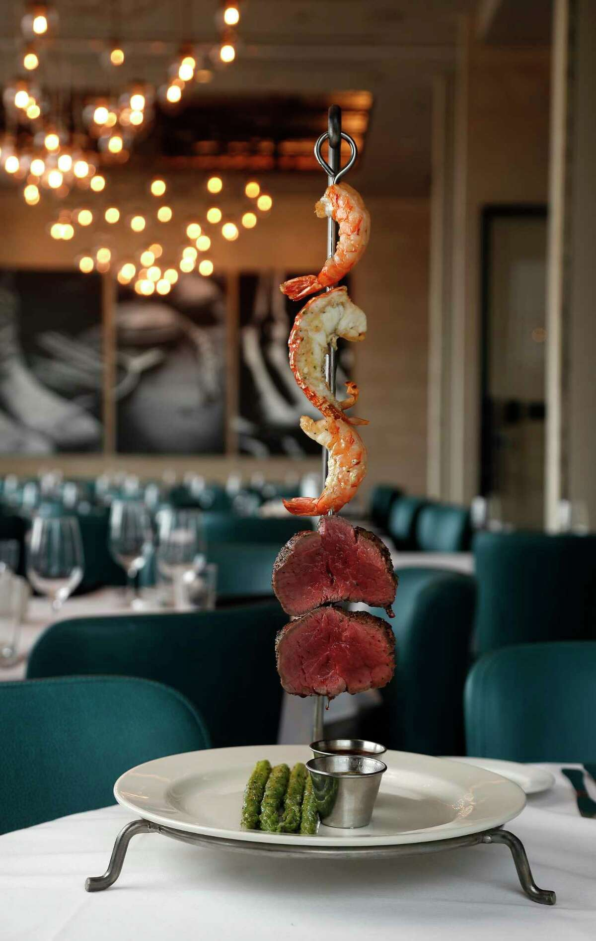 Symphony Kabob of tenderloin, shrimp and lobster tail at the new Perry's Steakhouse & Grille River Oaks.