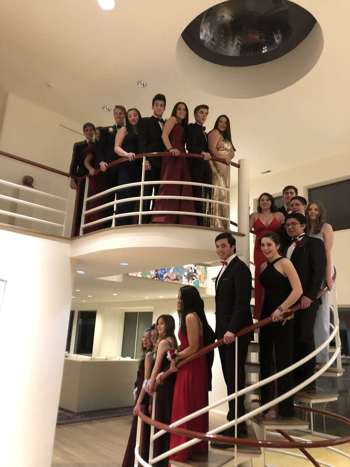 Couples from Weston pose before attending the County Assembly Ball, called