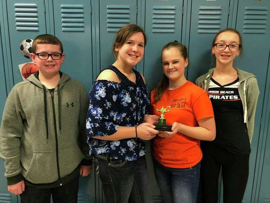 Taking third place was Harbor Beach School. Its team consists of, pictured from left, Max Climer, Aubrey Geiger, Isabel Learman and Alison Siemen. (Submitted Photo)