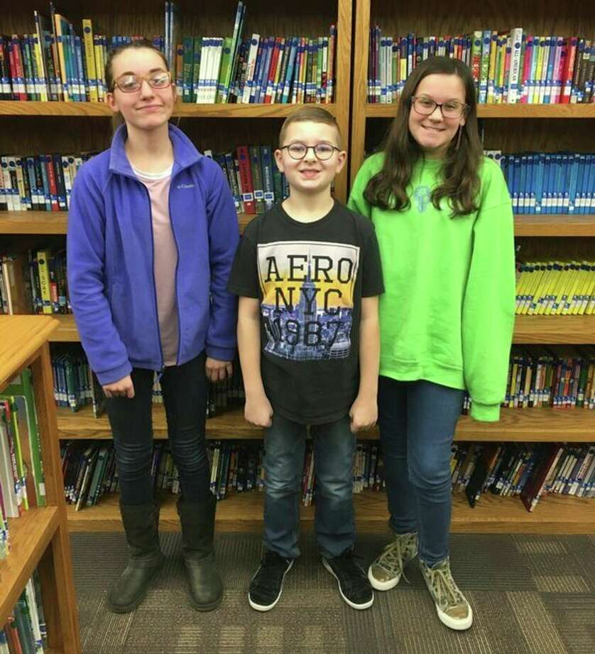 Local students who took part in the National Geography Bee were Amber Haldane, third place; Lucas McKnight, first place; and Danielle Hunt, second place. (Submitted Photo)