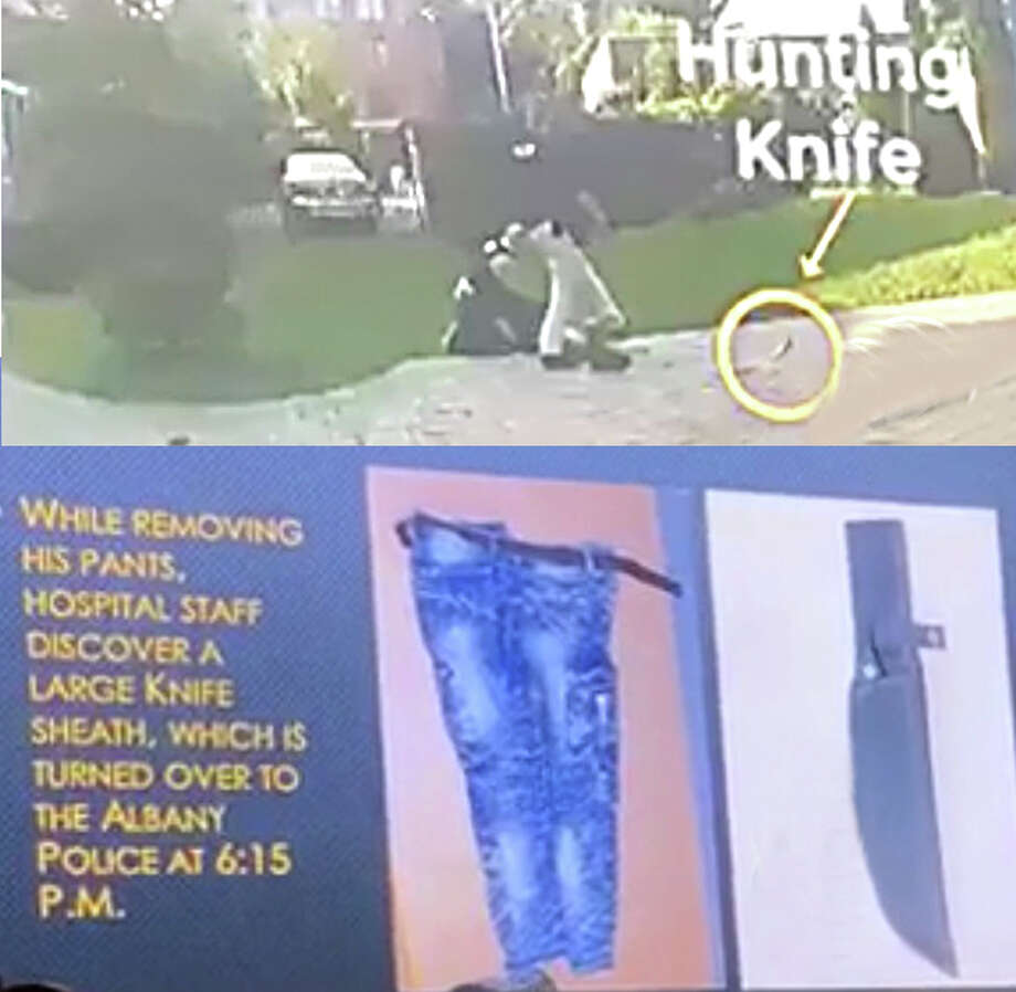 """According to Albany County District Attorney David Soares' office, Detective James Olsen testified that Ellazar Williams ran toward him with a """"shiny object"""" in his hand. Police body cam video (top photo) shows a knife on the ground near where Williams' was shot. A sheath that fit the hunting knife was found in Williams' pants at Albany Medical Center Hospital where he was treated for the gunshot wound, Soares' office said."""