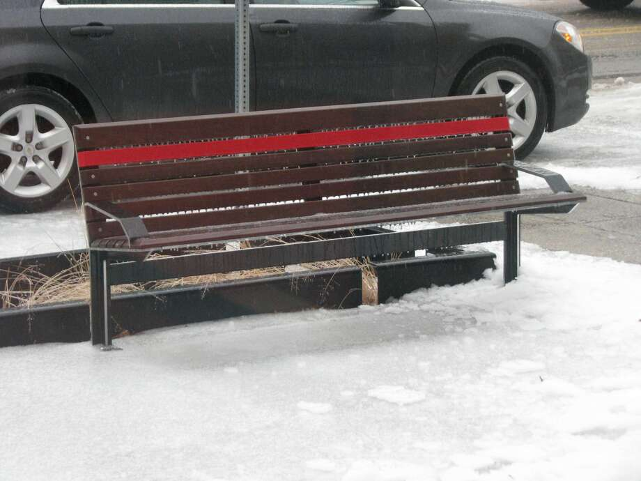 Ice forms on a bench in downtown Midland. Photo: Mitchell Kukulka/Daily News
