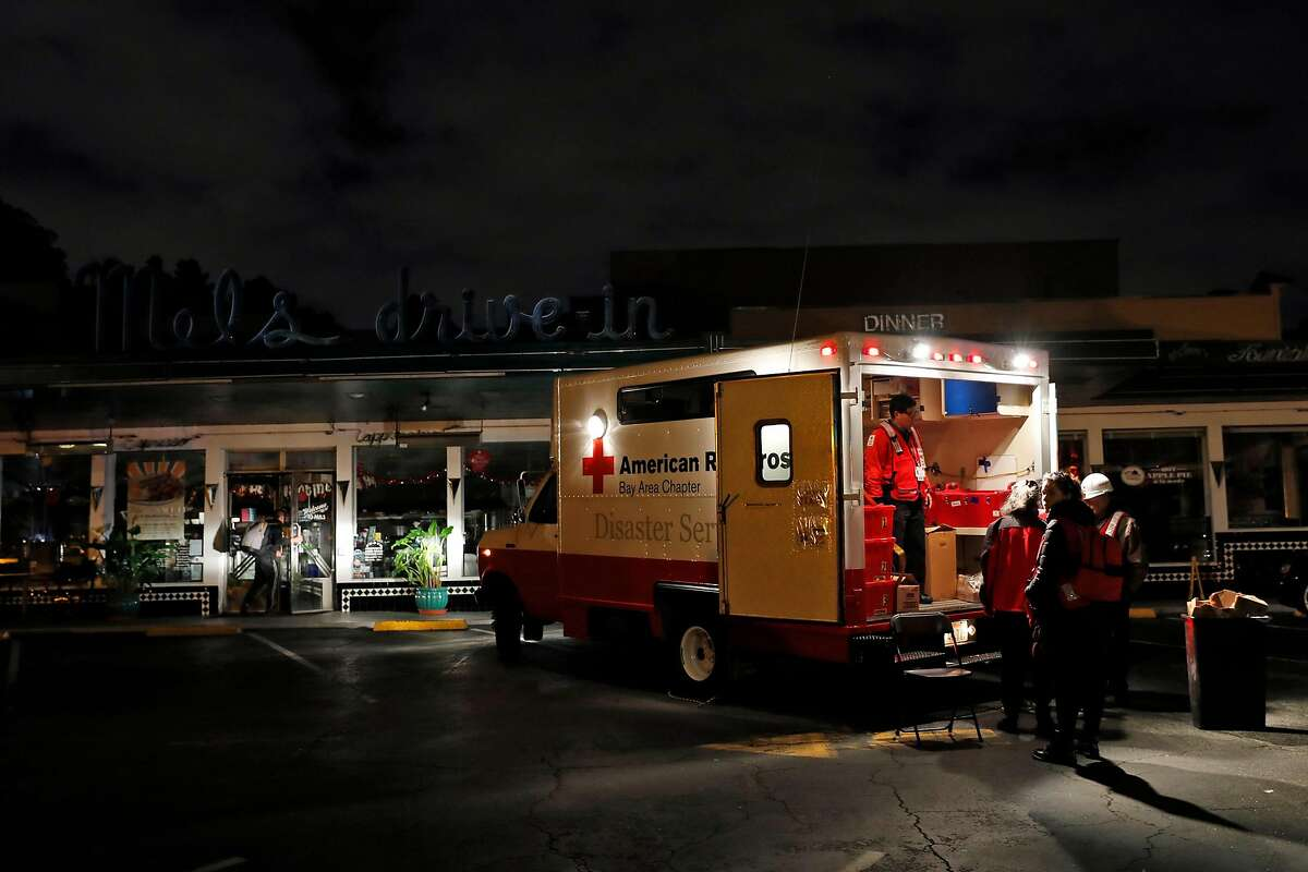 An American Red Cross truck sets up shop in parking lot of Mel's drive-in in aftermath of gas explosion at Geary Blvd. at Parker Avenue in San Francisco, Calif., on Wednesday, February 6, 2019.