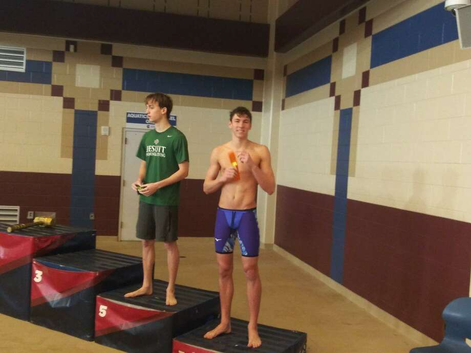 Klein Oak's Collin Fuchs placed second (50.73) in the 100-yard backstroke at the Region IV-6A Swimming & Diving Championships at the Conroe ISD Natatorium, Saturday, Feb 2, 2019, in Shenandoah. Photo: Klein ISD